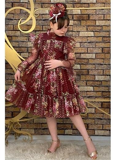 Riccotarz Kız Çocuk Çiçekli Prenses Bordo Elbise Bordo